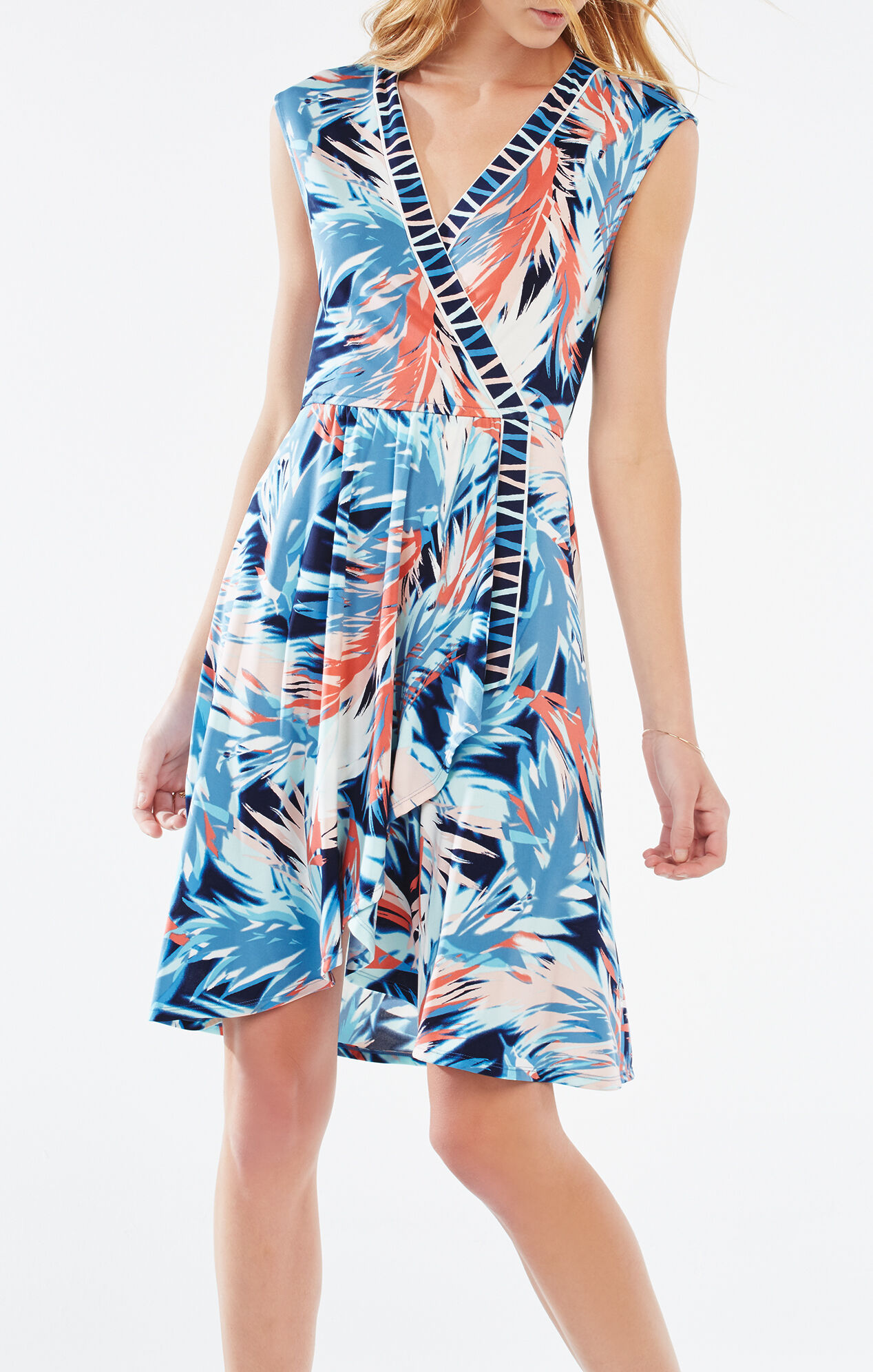 Carmelle Tropical Print Wrap Dress