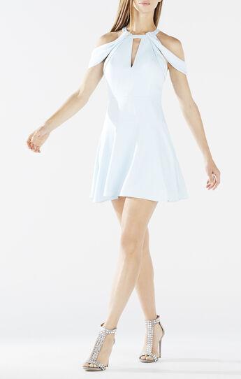 Salli Draped Cutout Fit-and-Flare Dress