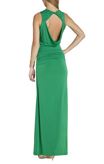 Nicole Draped-Neck Floor Length Dress