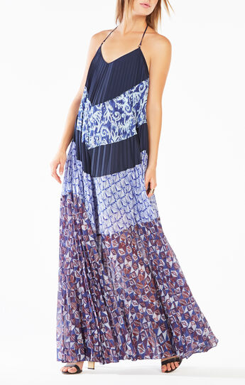 Juna Pleated Print-Blocked Maxi Dress