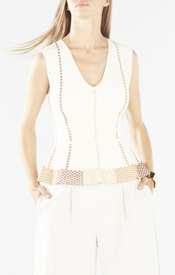 Laure Dotted Knit Jacquard Peplum Top