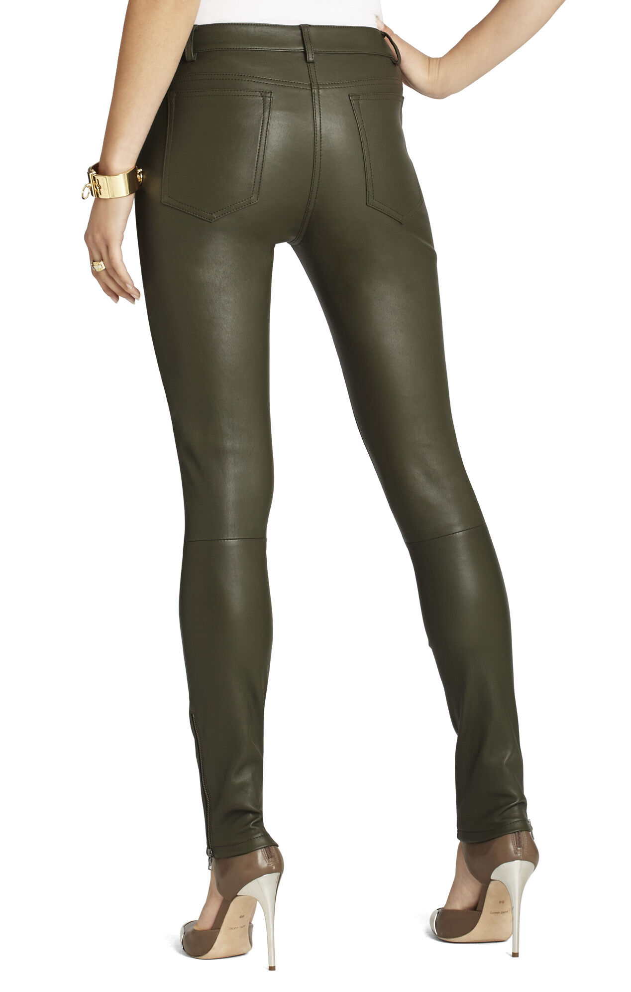 Gayl Zip-Pocket Leather Legging