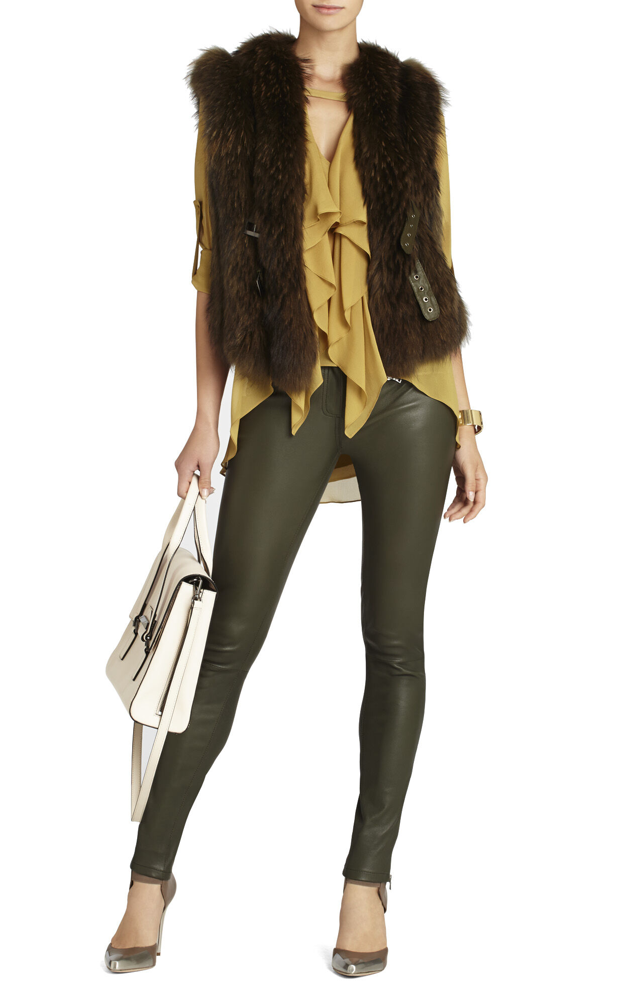 Gayl Zip-Pocket Leather Legging