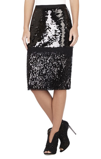 Cristal Mixed Sequined Pencil Skirt
