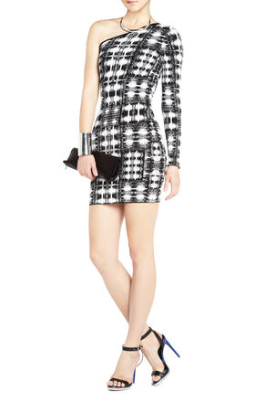Jordon One-Shoulder Ikat Dress