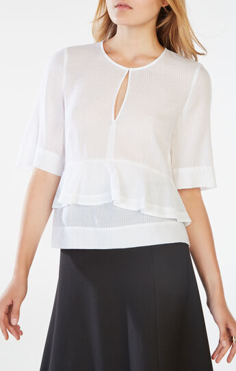 Brittan Striped Peplum Top