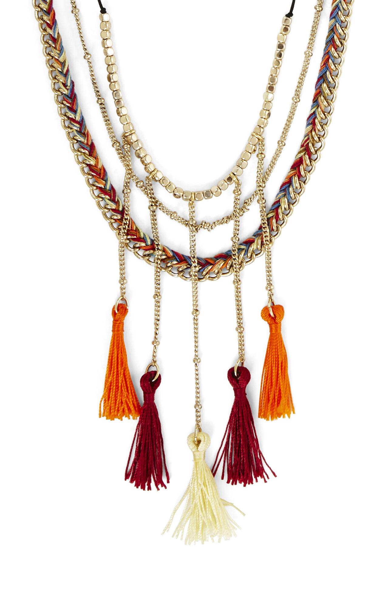 Boho Braided Tassel Necklace