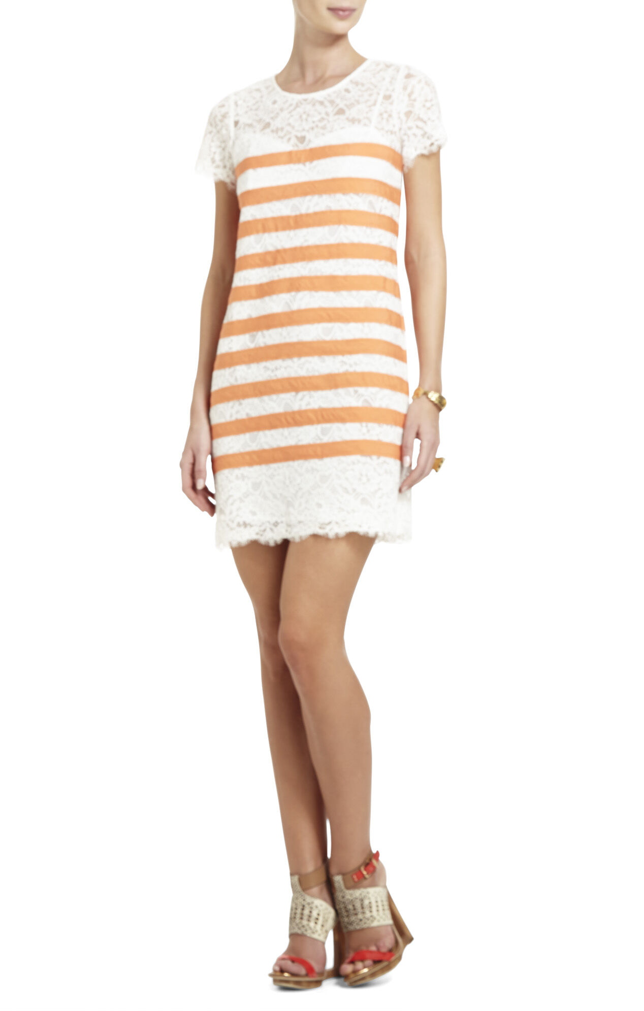 Roxine Lace Dress with Contrast Stripes