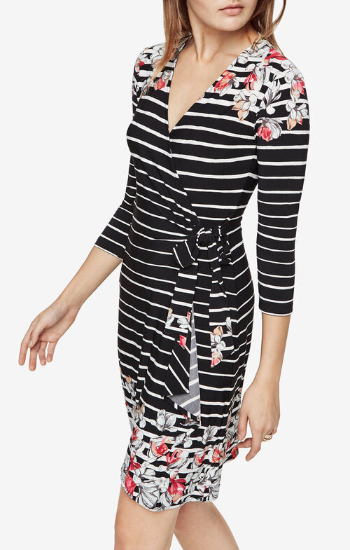 Adele Floral Stripe Wrap Dress