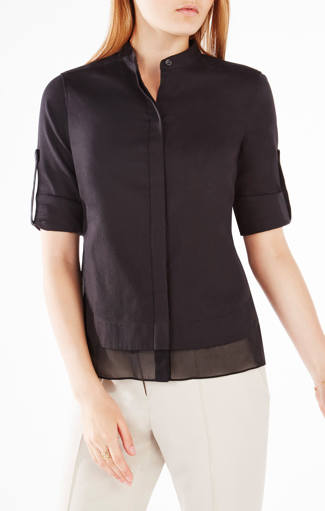 kaikee silk trimmed button down shirt