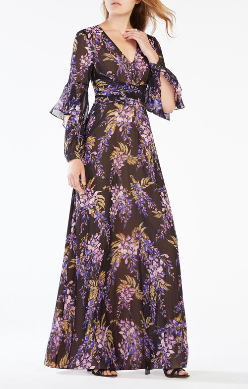 Beverle Floral Print Silk Gown