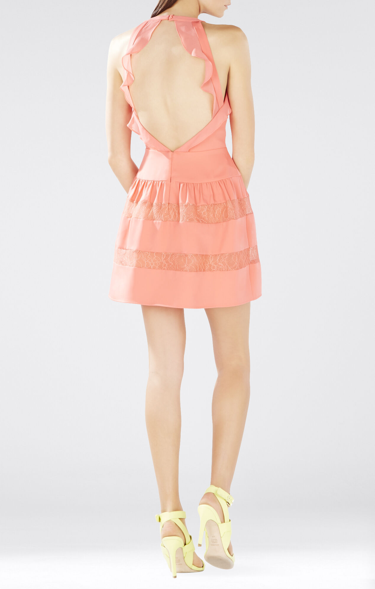 Katrine Halter Lace-Blocked Dress