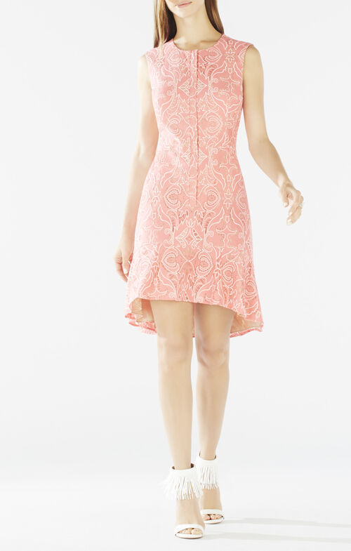 Chrystal Zip-Front Flounce-Hem Lace Dress