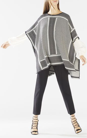 Jayde Knit Jacquard Poncho Sweater
