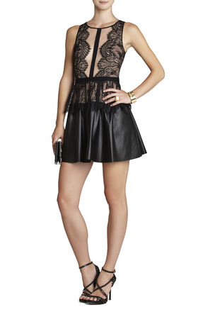 Layton Lace Dress With Leather Skirt