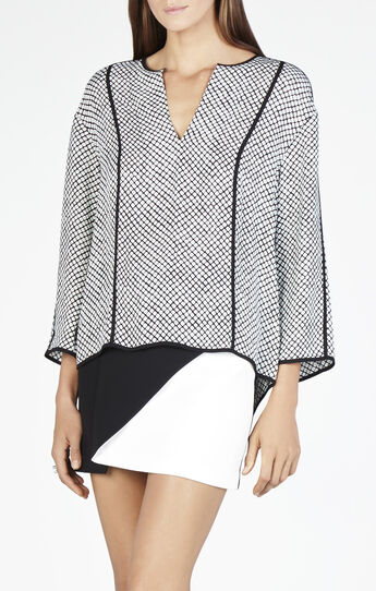 Meagan Contrast Piping Long-Sleeve Top