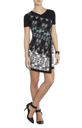 Kellan Print-Blocked Shift Dress