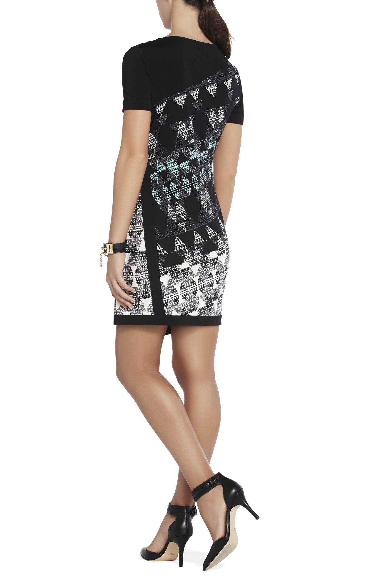 Kellan Print-Blocked Shift Dress
