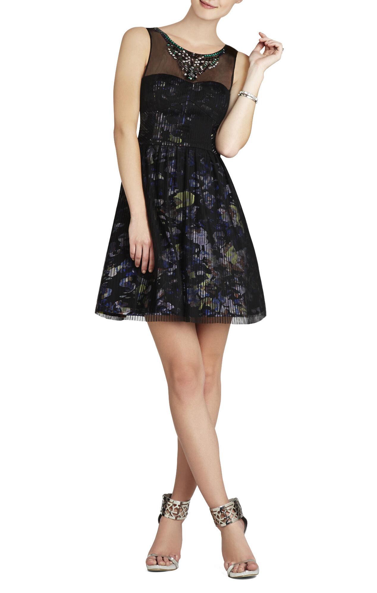 Teegan Beaded-Neckline Pleated Dress