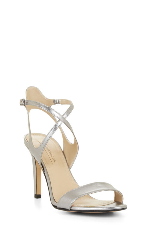High-Heel Crisscross Metallic Sandal