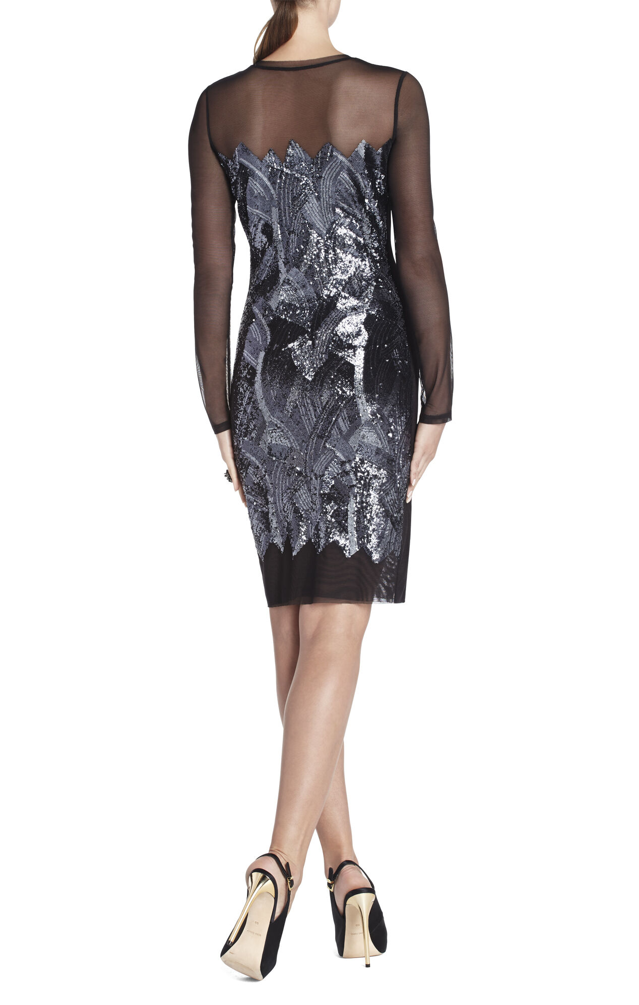 Anaya Long-Sleeve Braided Sequined Dress