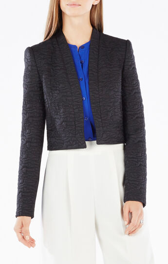 Kamron Cloque Jacquard Cropped Jacket