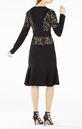Krizia Lace-Blocked Flounce Hem Dress