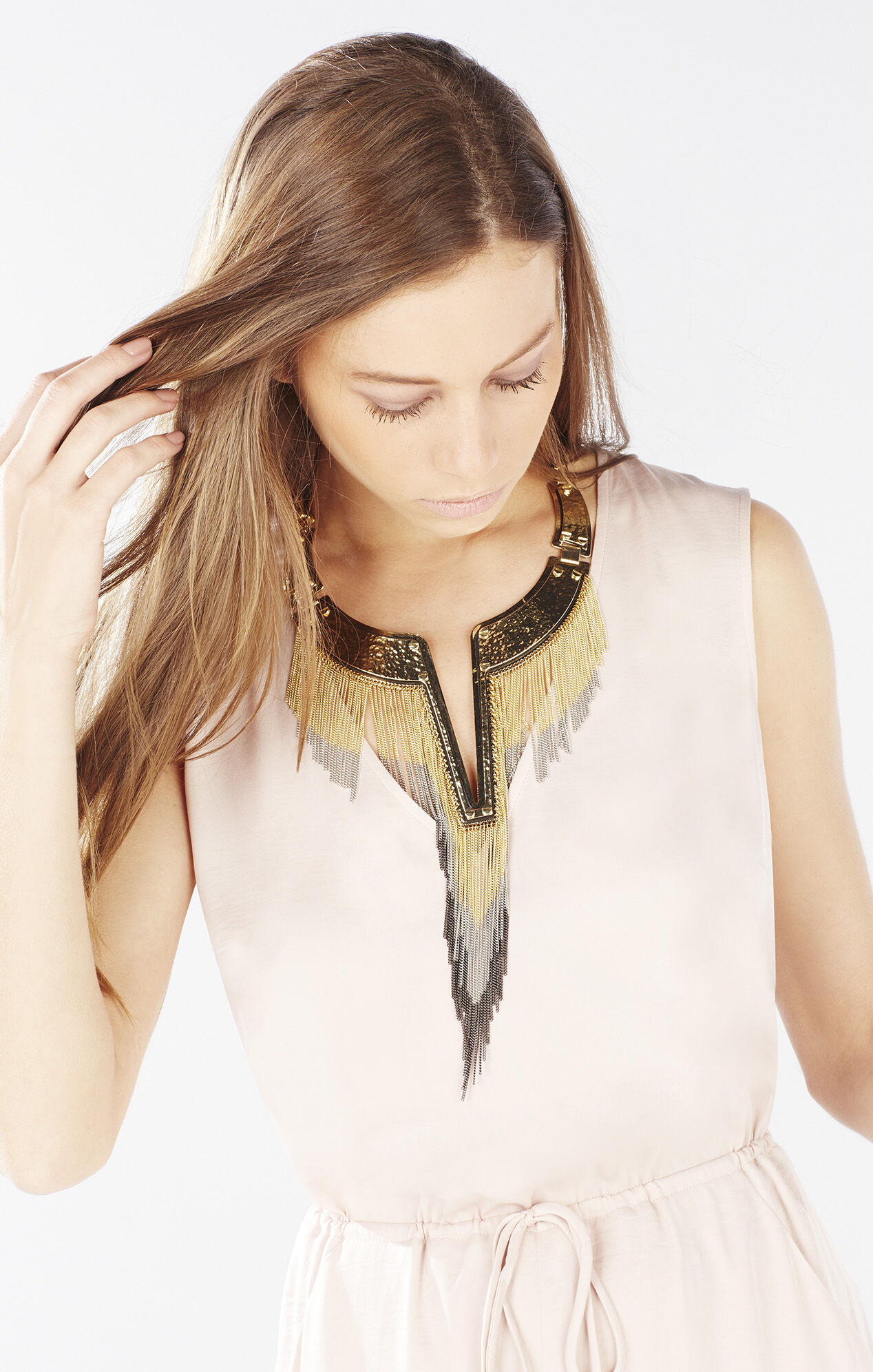 Chain Fringe Plate Collar Necklace