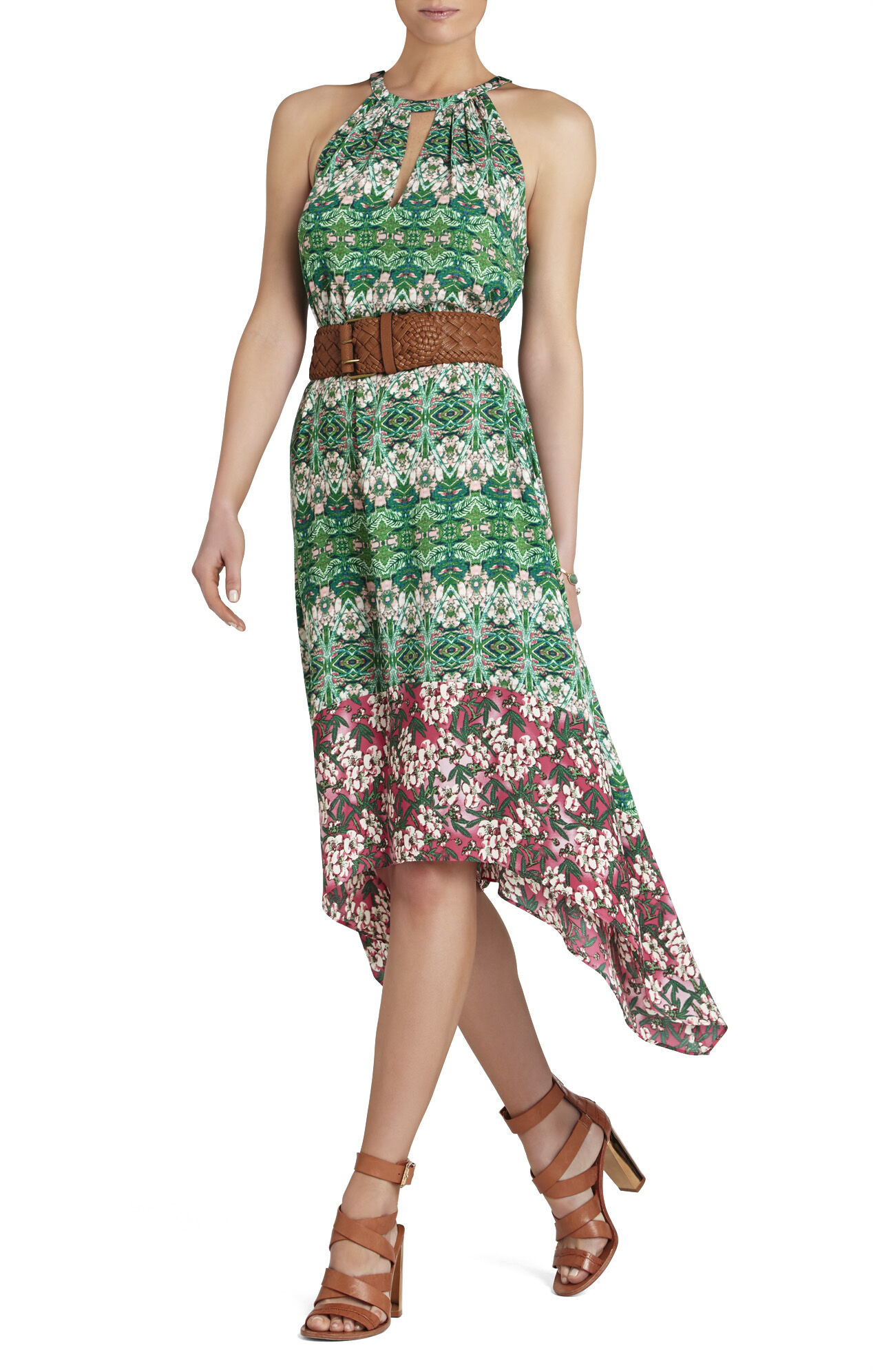 Keelie Blocked-Print Halter Dress