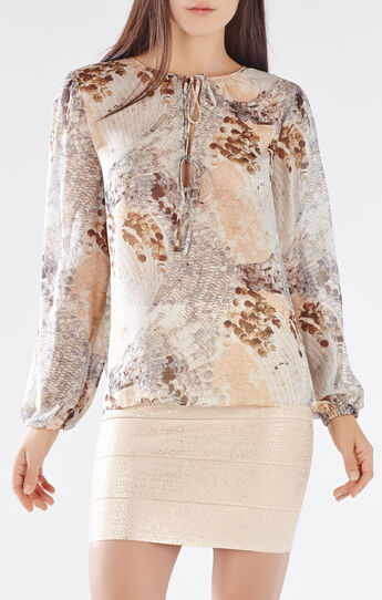 Evanna Paillette Feather Print Blouse
