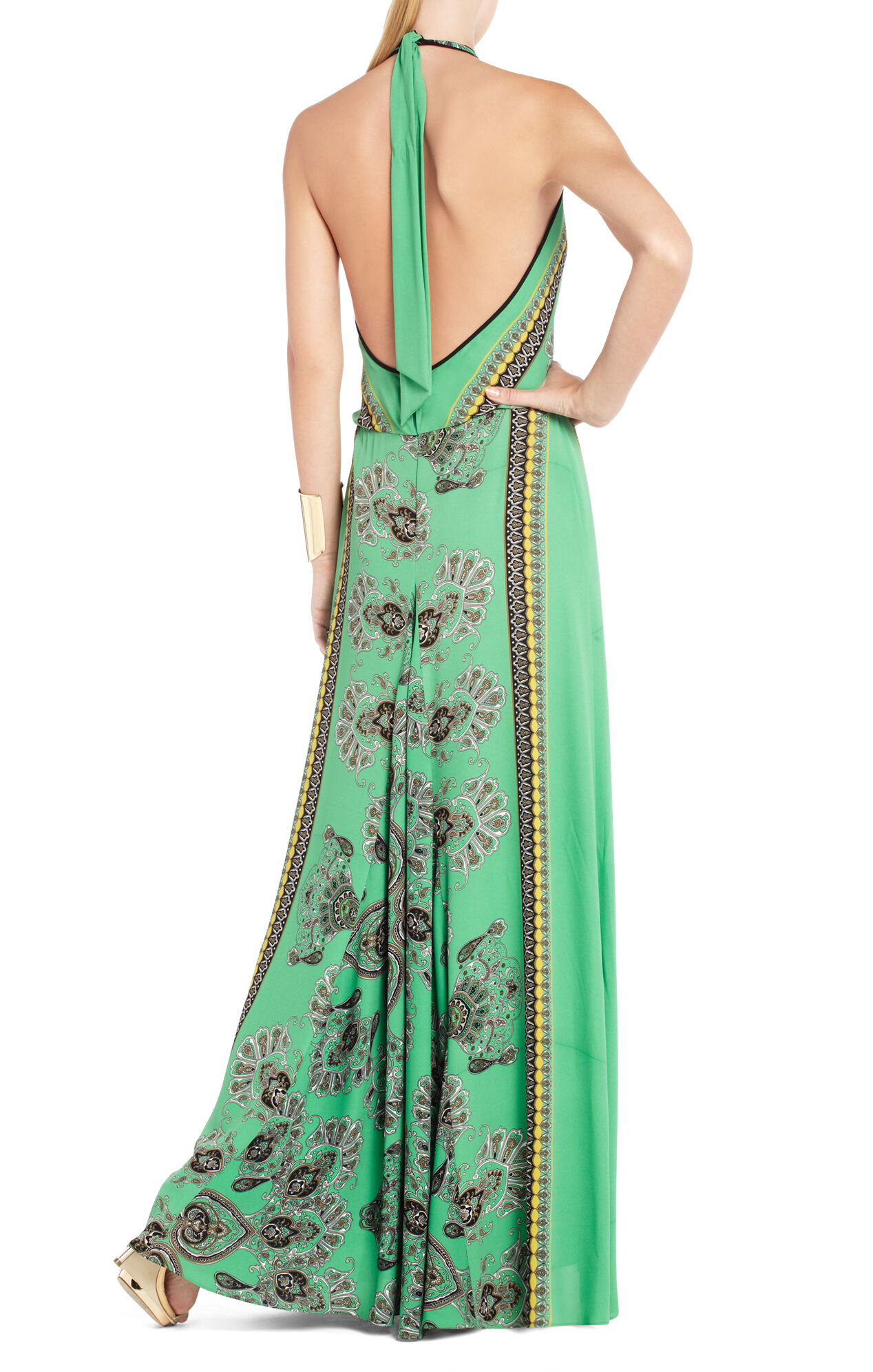 Arlenis Scarf-Print Evening Gown