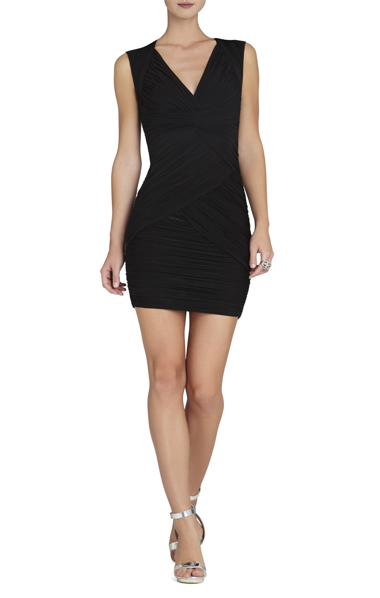 Edesa Shirred V-Neck Cocktail Dress