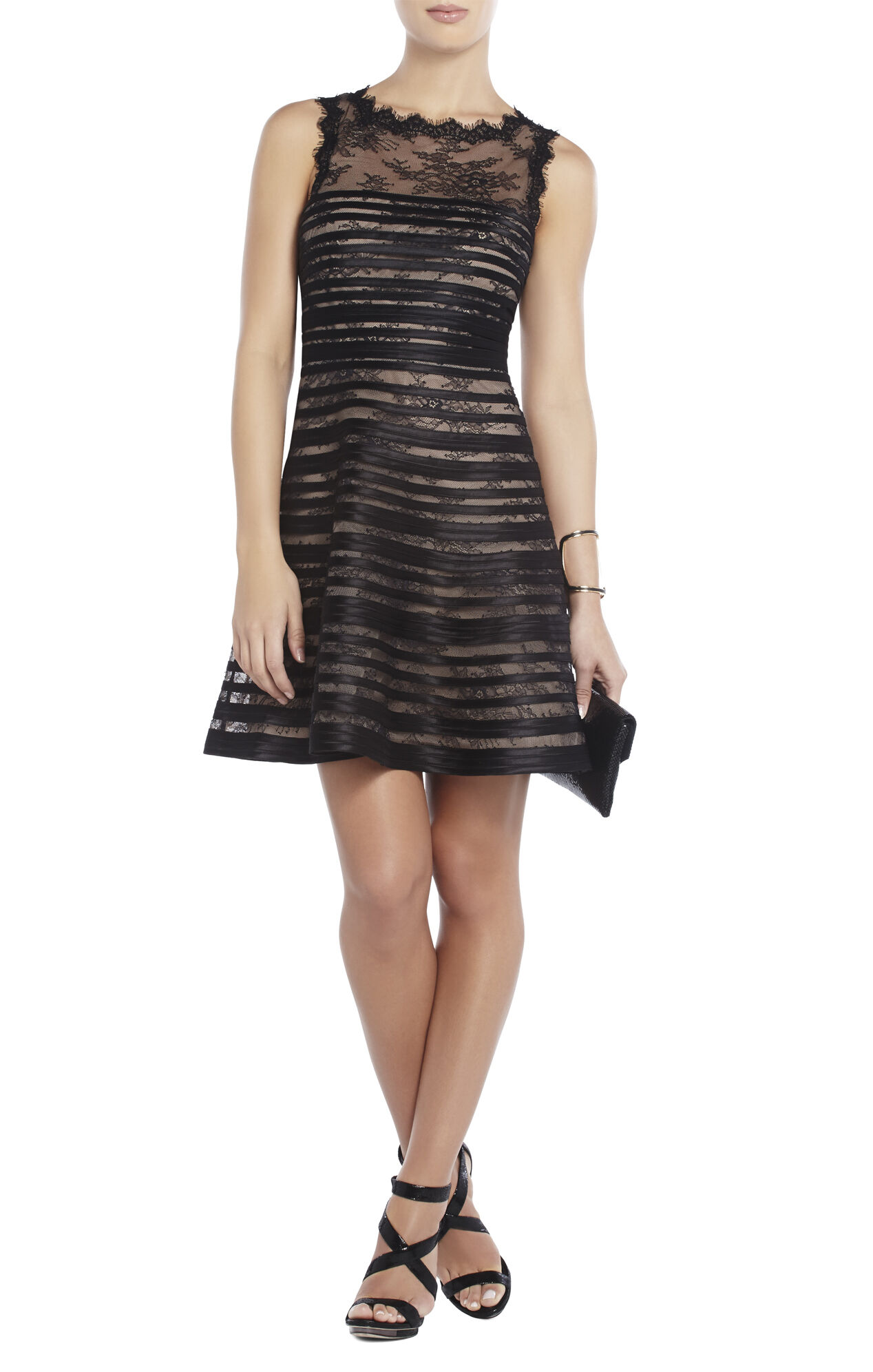 Jacqueline Stripe and Lace Dress