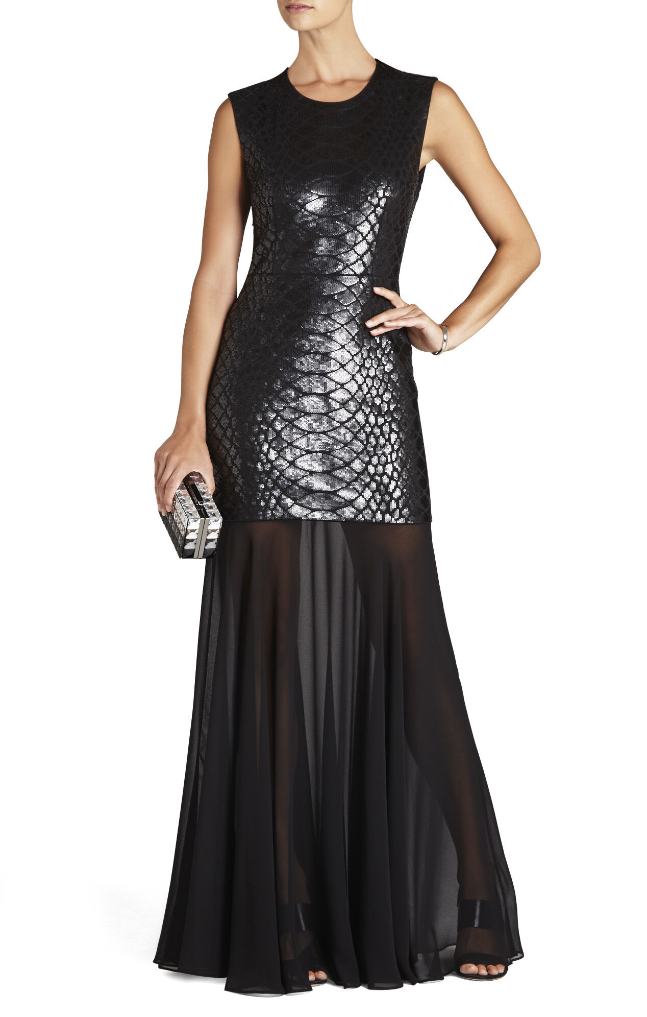 Marielle Python Sequined Gown