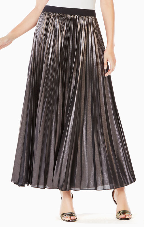 Dallin Pleated Metallic Maxi Skirt
