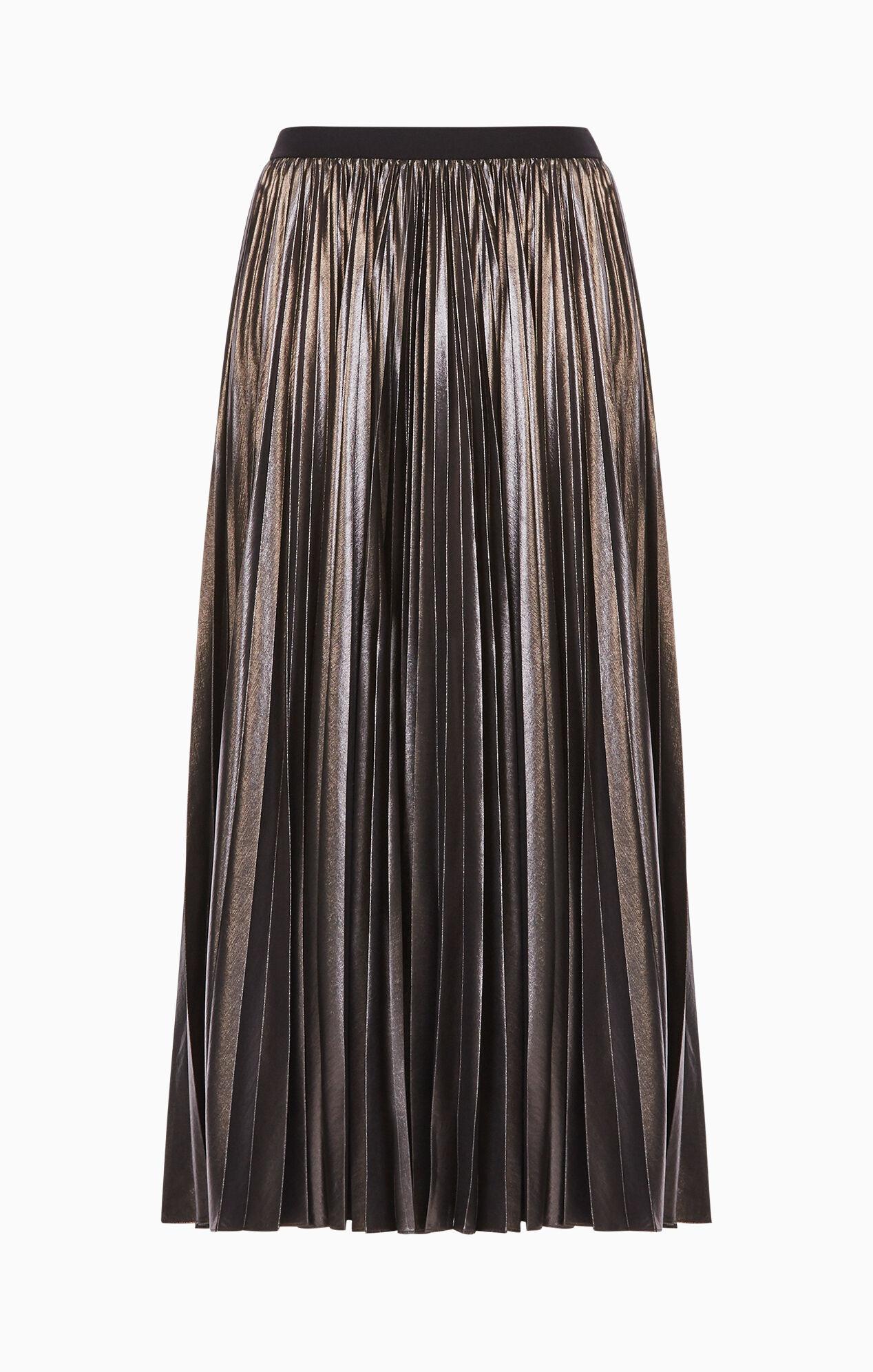 dallin pleated metallic maxi skirt