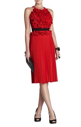 Safina Floral Sunburst-Pleat Dress