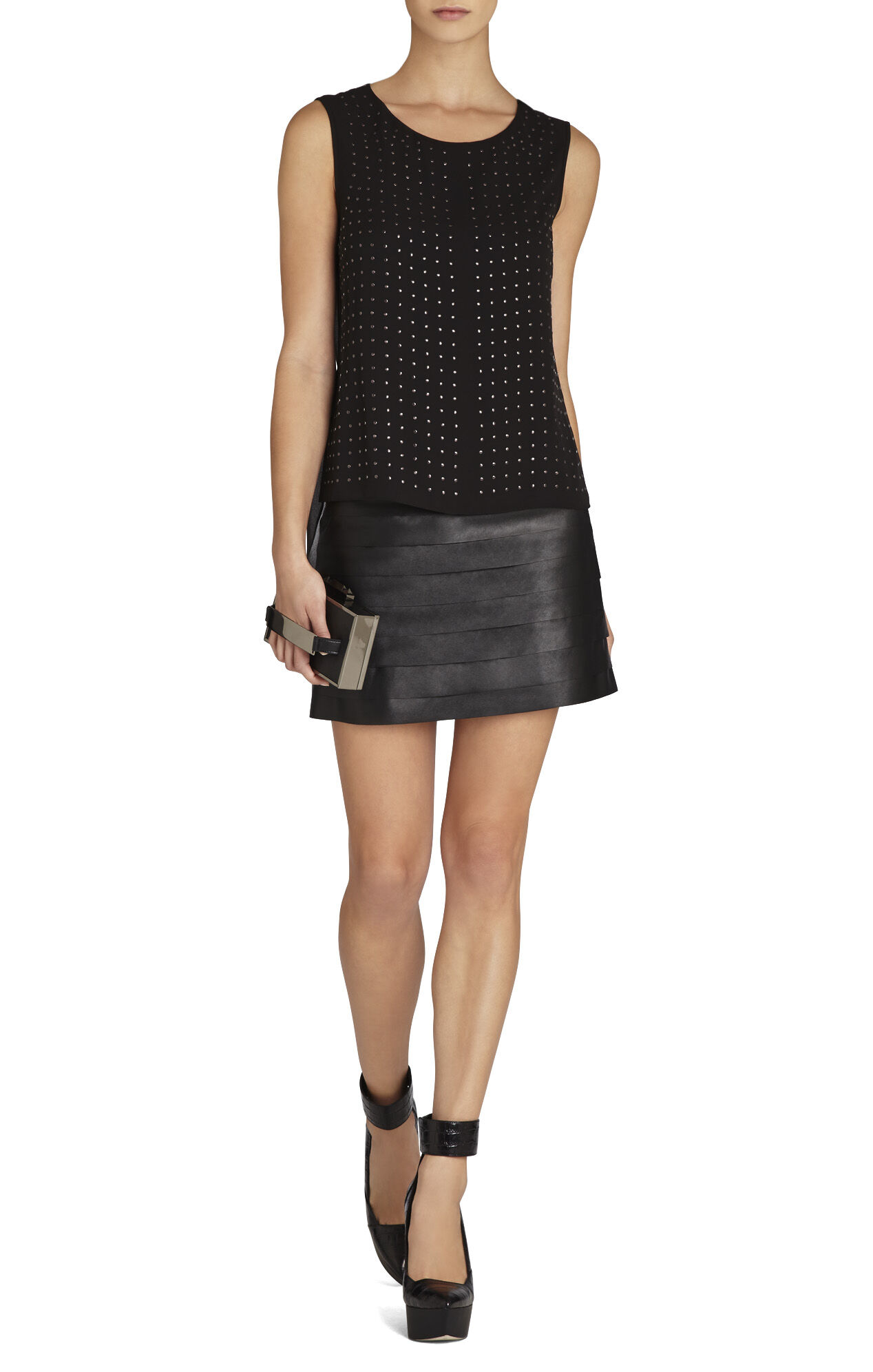 Amalli Pleather-Strapped Mini Skirt