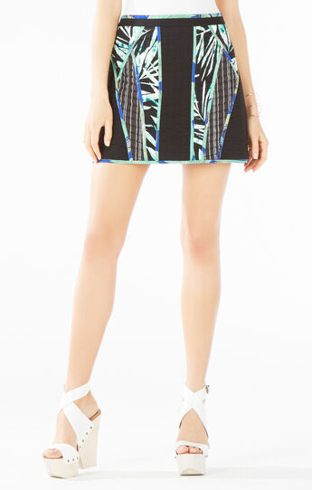 Andrick Palms Print-Blocked Miniskirt