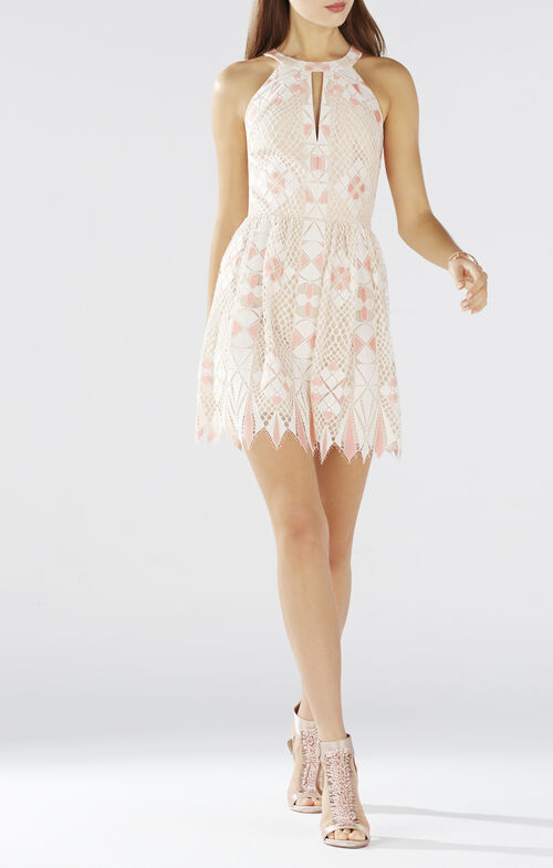 Megyn Geometric Lace Halter Dress
