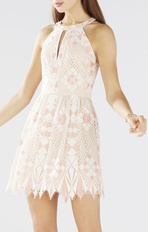 Megyn Geometric Lace Halter Dress
