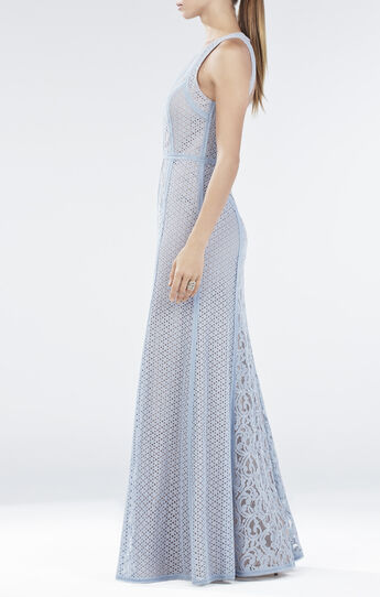 Ariella Lace-Blocked Halter Gown