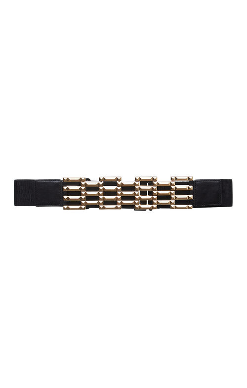 Pyramid-Studded Lattice Bar Belt