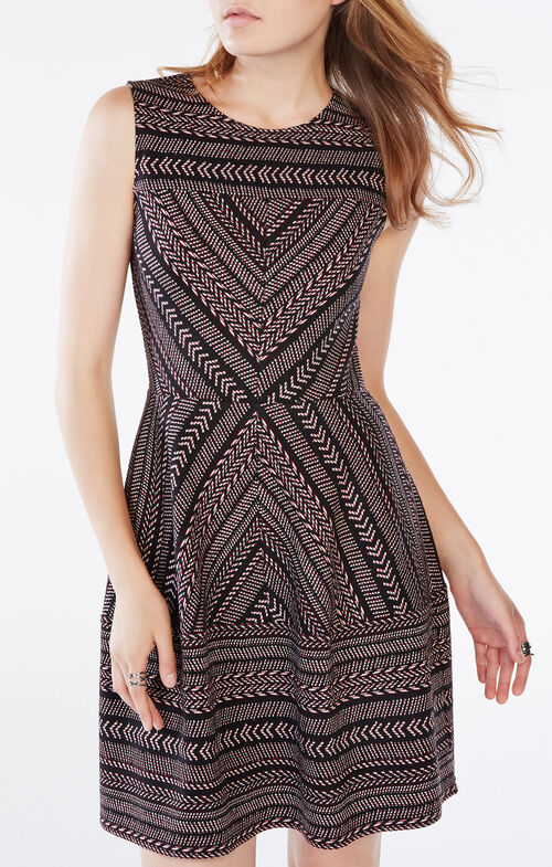 Cassandra Striped Chevron Dress