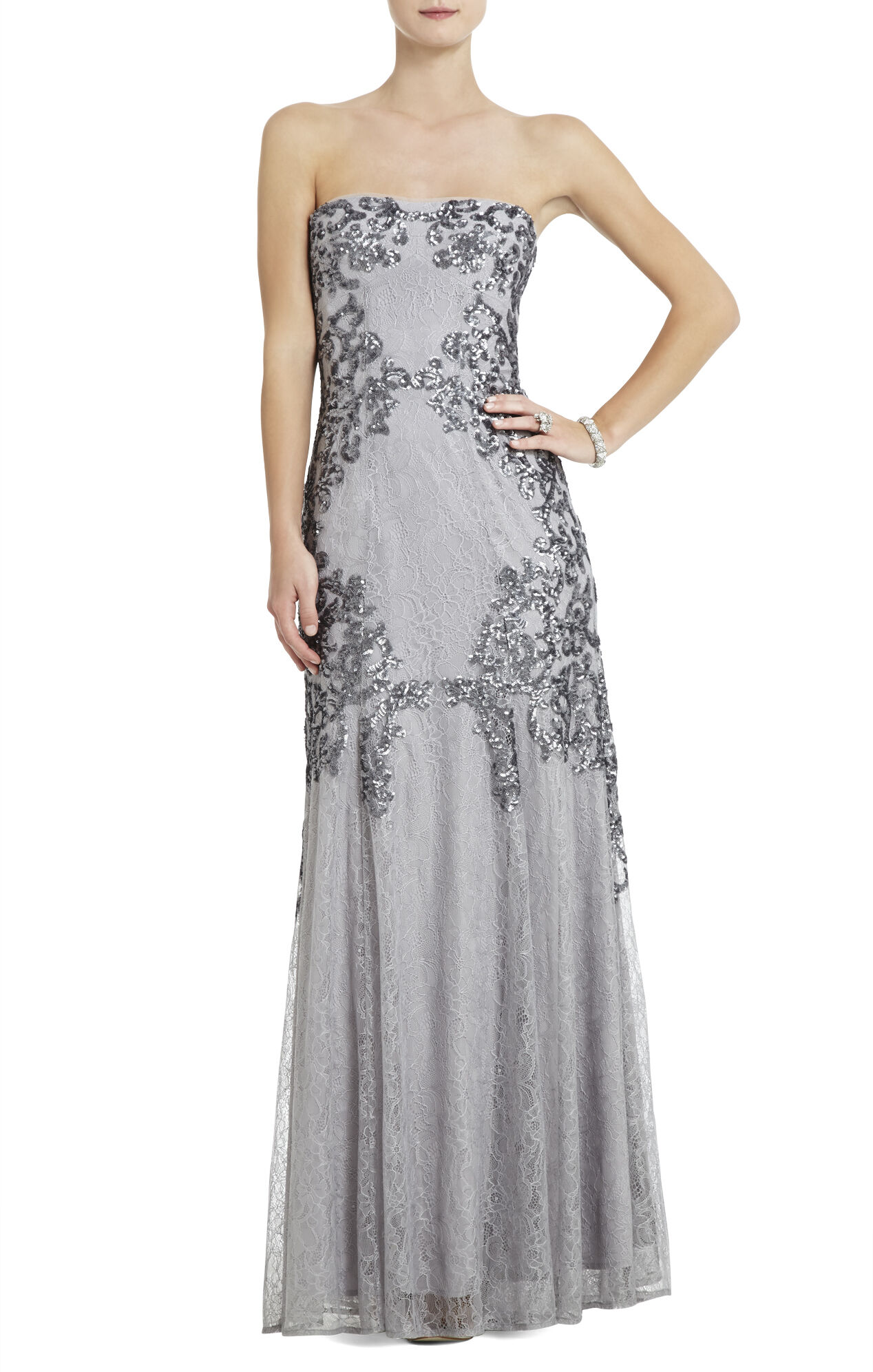 Colinne Strapless Sequined Gown