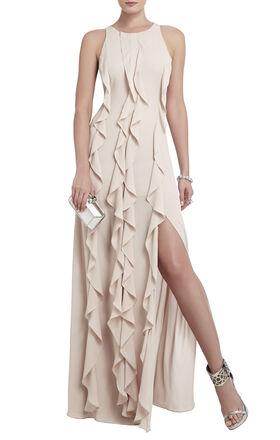 Tess Cascading Ruffle Floor-Length Dress