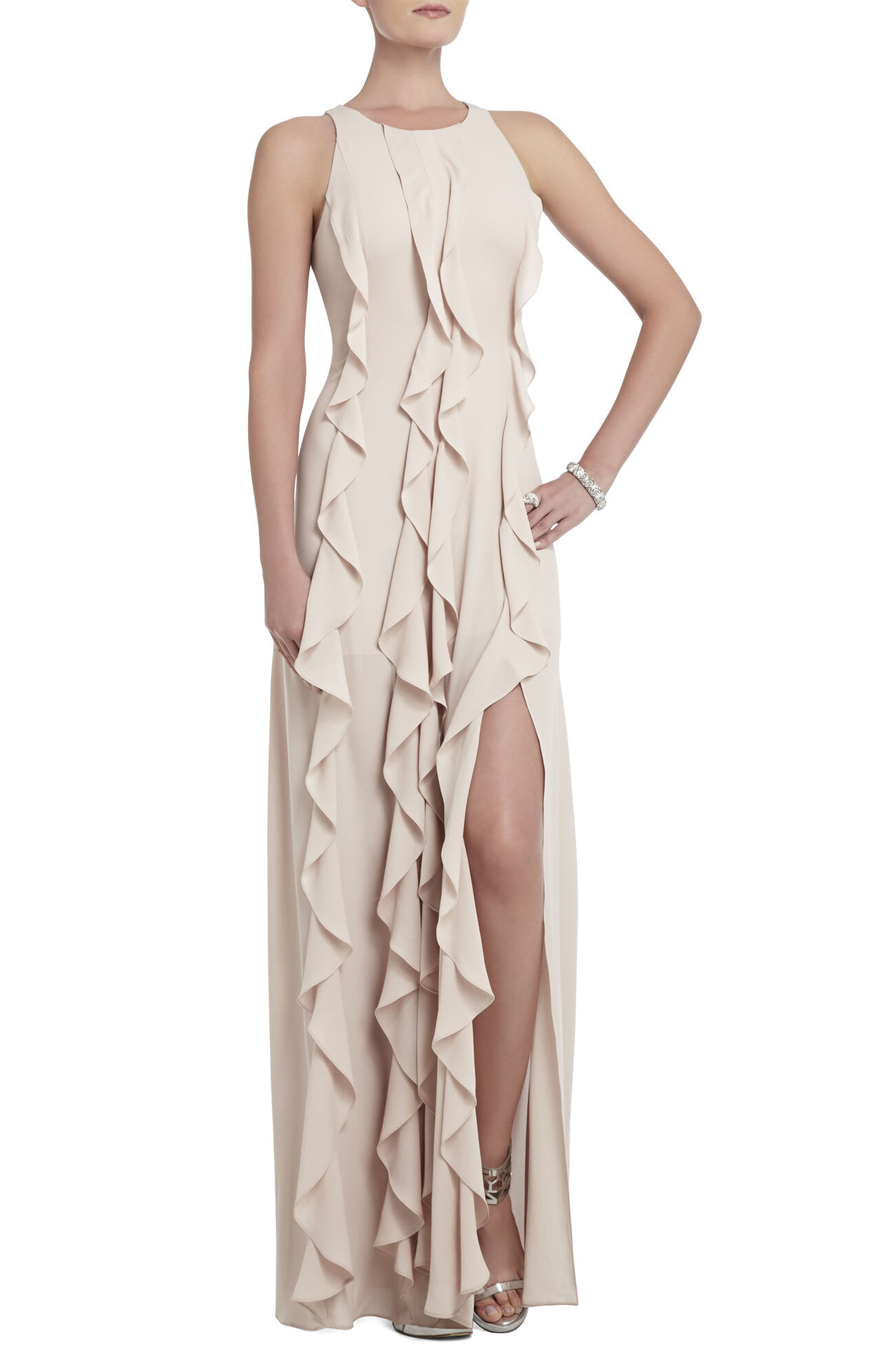 Tess Cascading Ruffle Floor-Length Dress