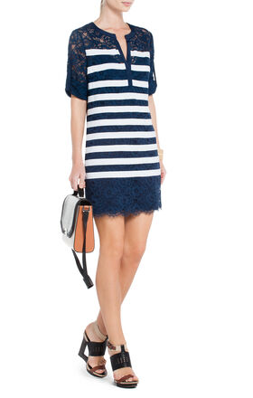 Lizze Contrast-Striped Lace Tunic