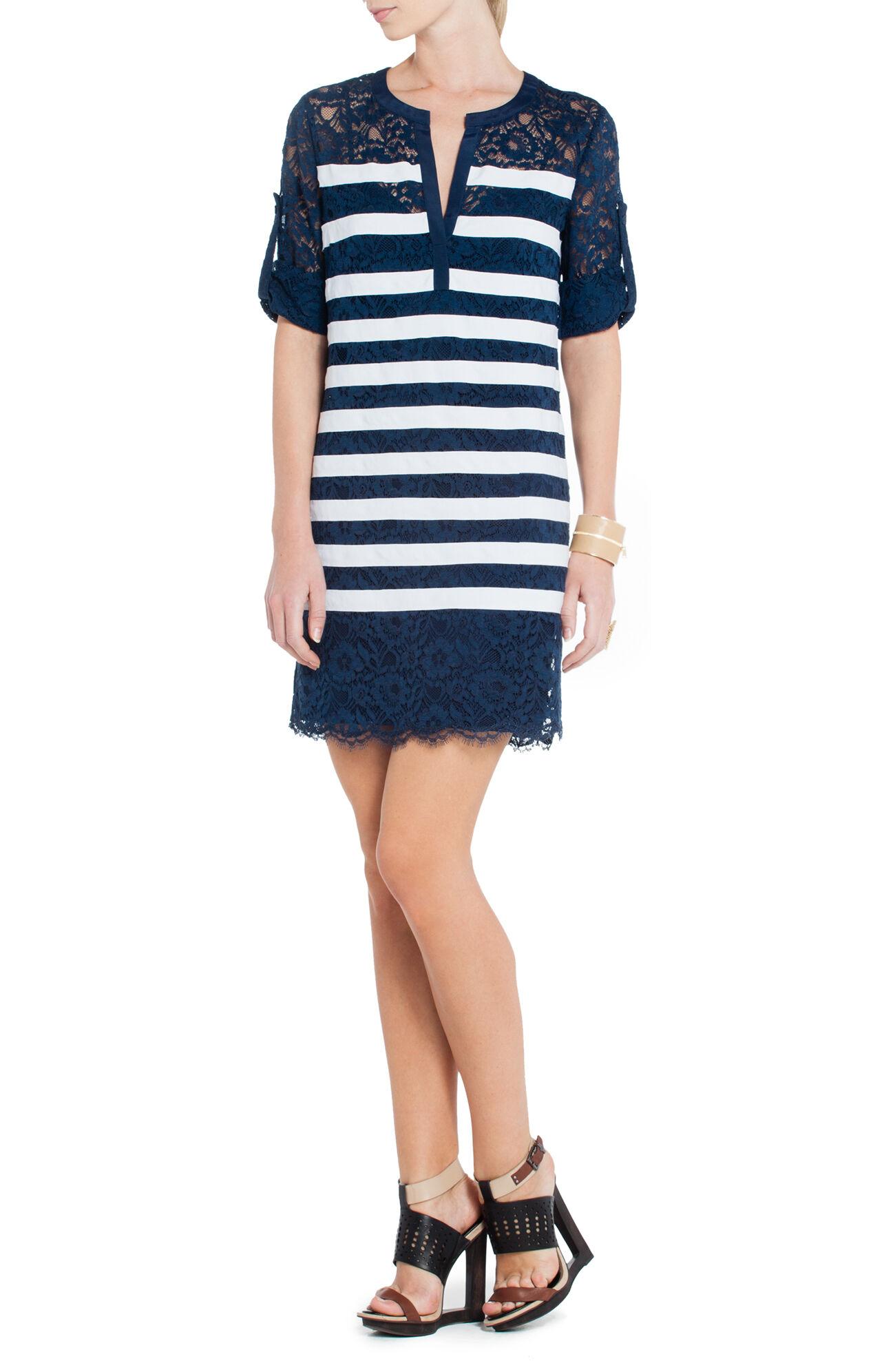 Lizze Contrast-Striped Lace Tunic