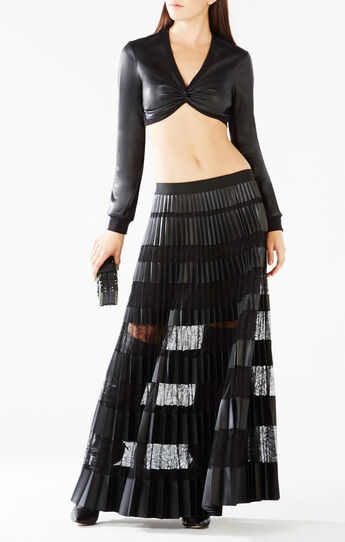 Raelee Twist Faux-Leather Crop Top